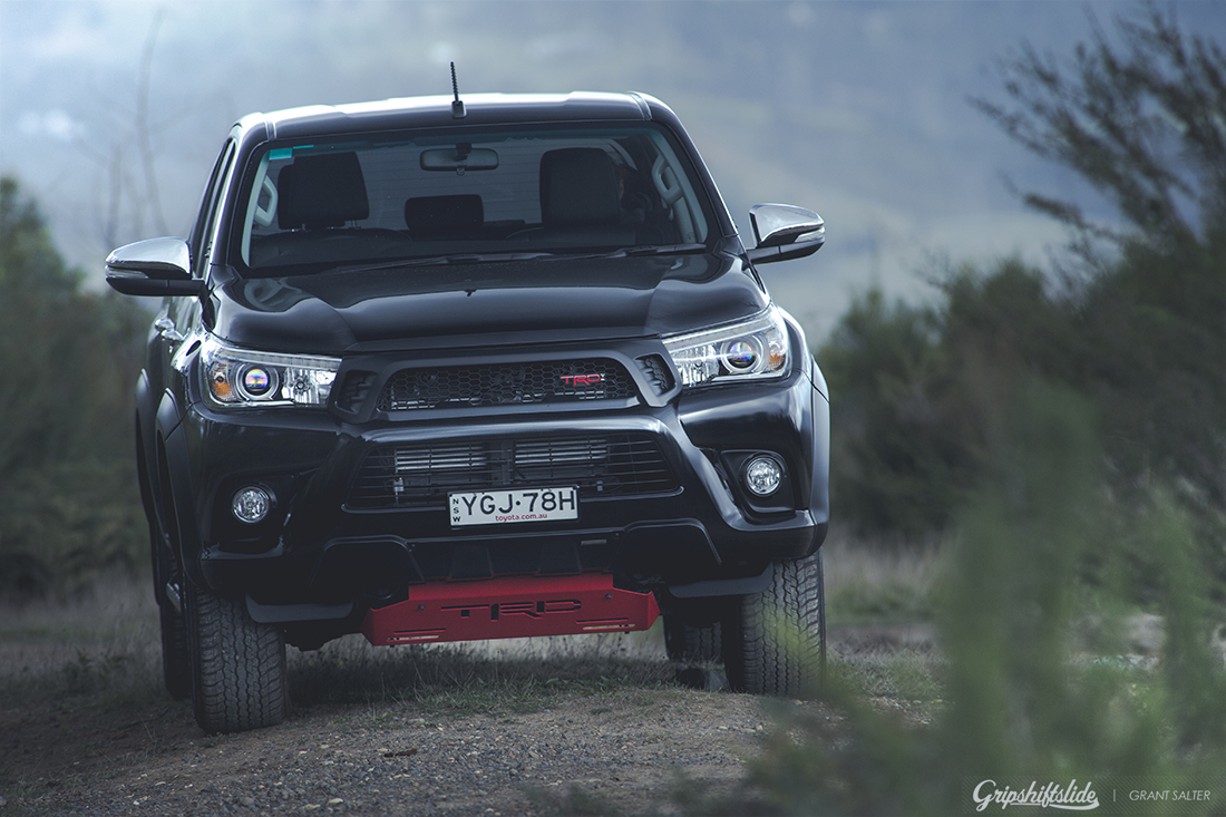 clean front of the trd hilux in black