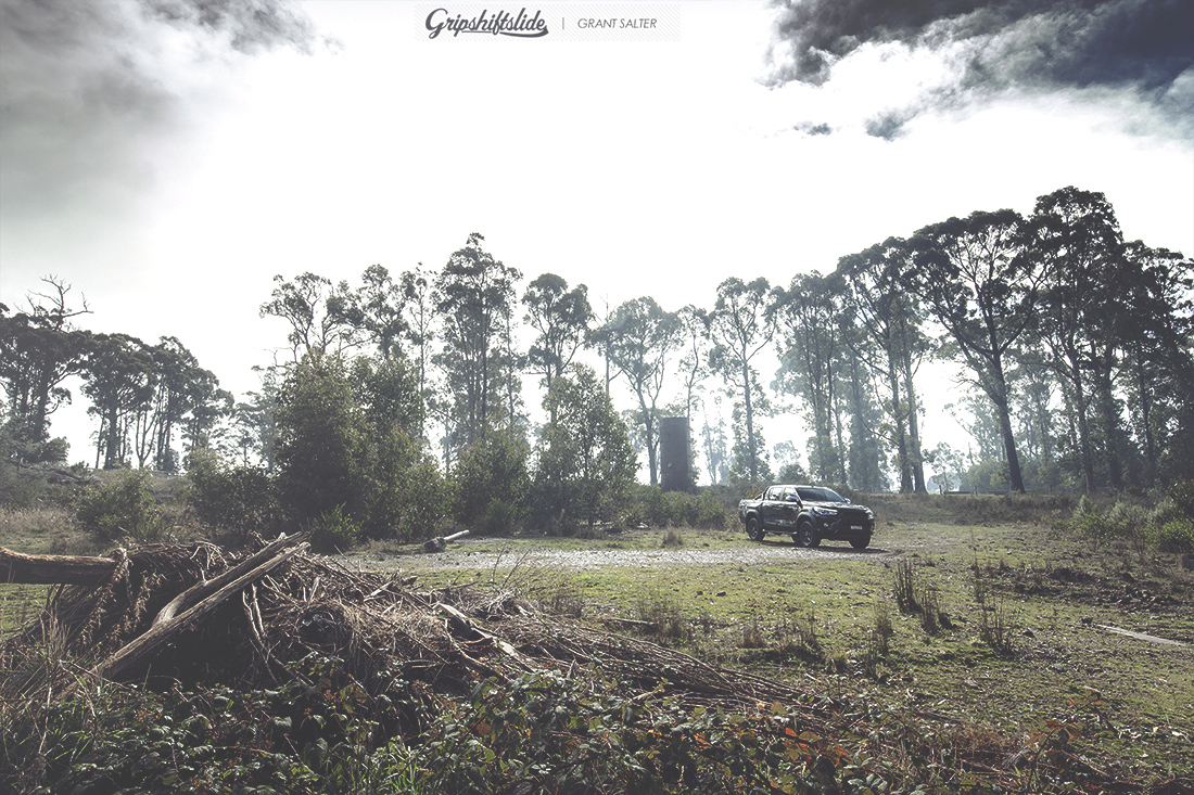 small 4 door hilux in  forest